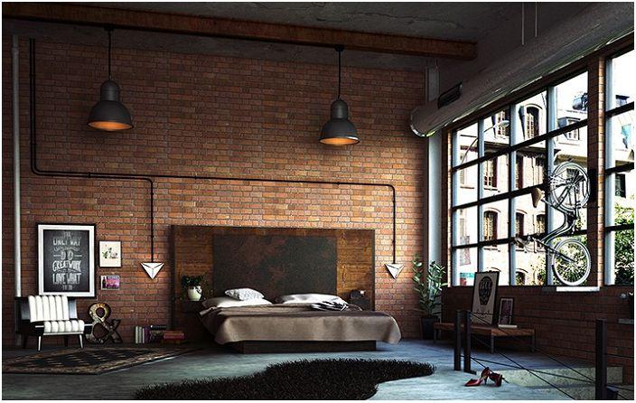 Индустриален подход към дизайна на спалнята с акцент върху минималните детайли и суровите архитектурни материали.