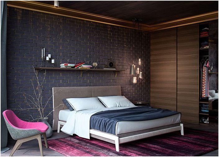 Лилавите и сиви нюанси са чудесна комбинация с тъмно сива тухлена зидария.