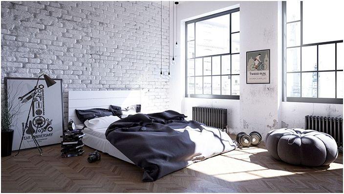 Dobra opcja do dekoracji sypialni w stylu loftu w czerni i bieli z białymi ceglanymi ścianami.
