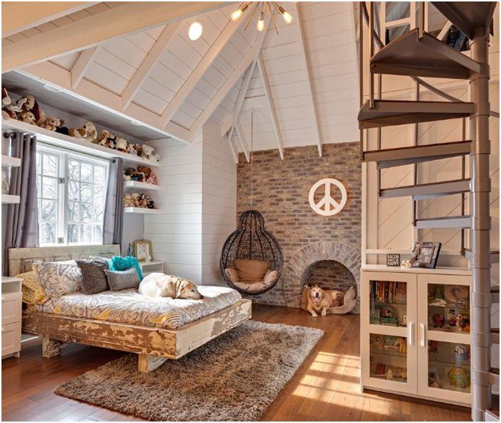 Industrialne cechy sypialni w stylu loftu są po prostu nie do przeoczenia.