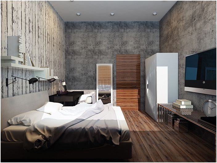 Хубава спалня с много различни текстури и модерно обзавеждане.