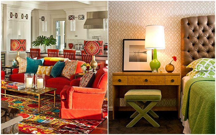 Jasne kolory lamp stołowych we wnętrzu