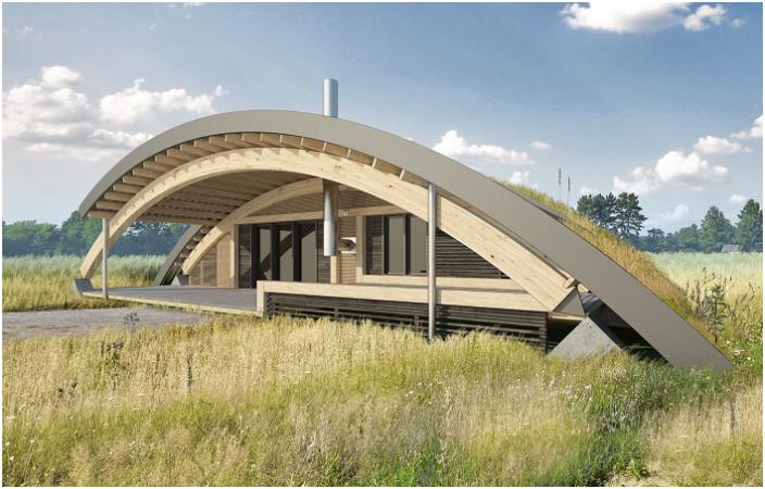 Проект на оригинална селска къща с `` зелено '' покрив.