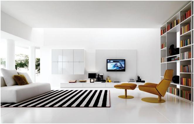Снимка на интериора в стила на минимализма