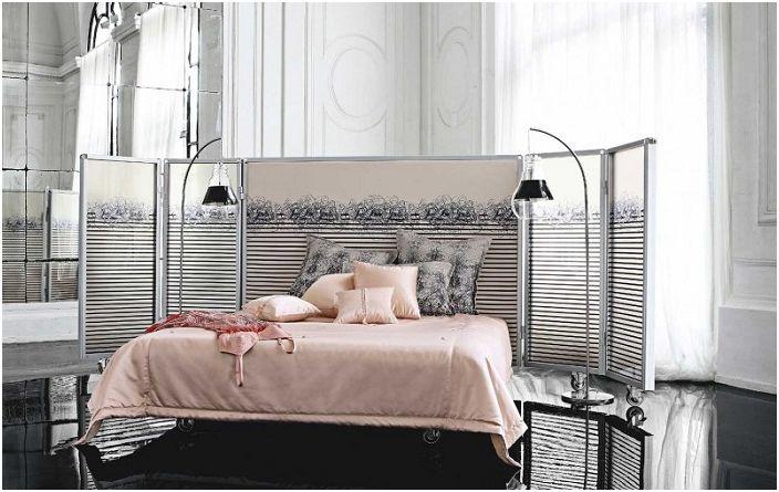 Интересен дизайн на спалня от Roche Bobois с нотка на нежност.