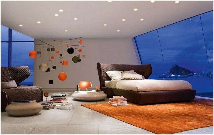 Страхотен вариант за дизайн на спалня с добавяне на цвят от теракота, който ще освежи интериора.