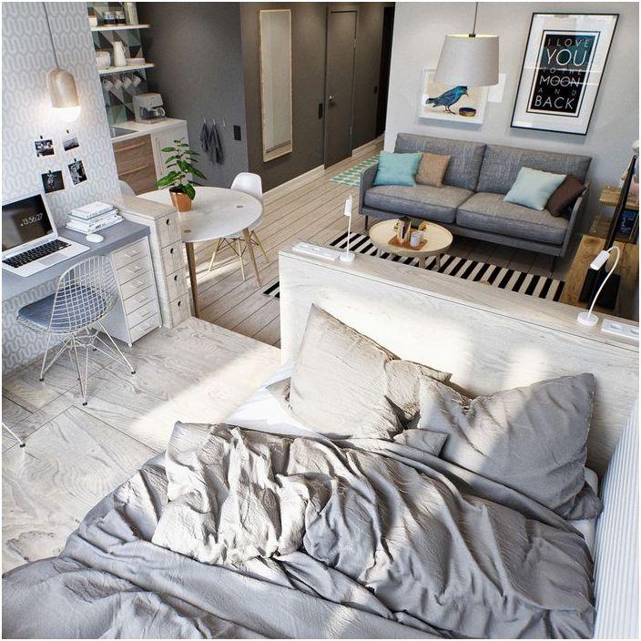 Łóżko na podium za ścianką działową z płyt gk