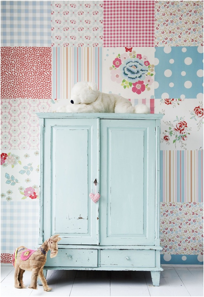 ściany w stylu patchworku we wnętrzu