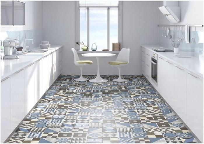 podłoga w kuchni w stylu patchwork we wnętrzu