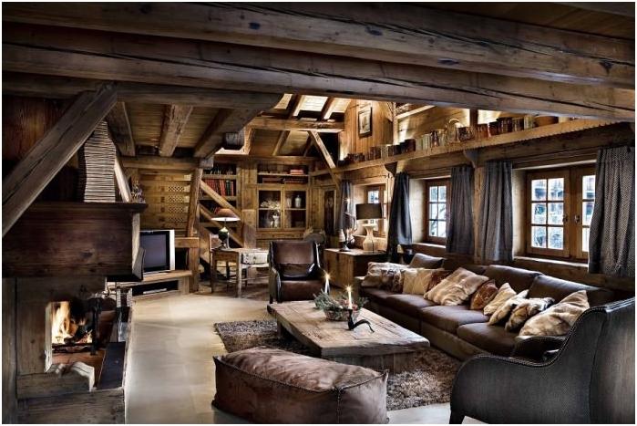 styl rustykalny we wnętrzu salonu