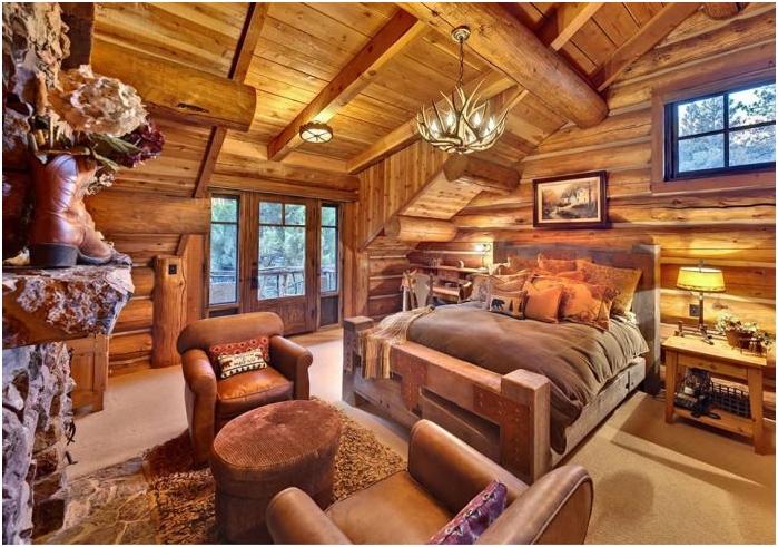 styl rustykalny we wnętrzu sypialni