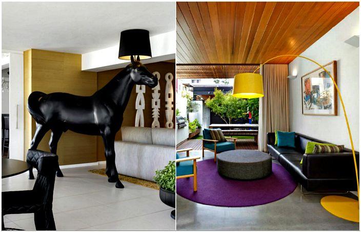 Оригинальные торшеры в интерьерах современных гостиных.