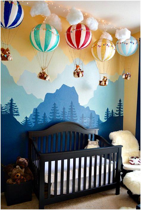 Воздушные шары в интерьере детской.