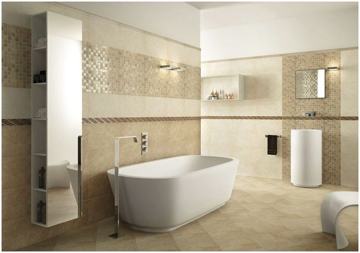 Декорация за баня в бежови цветове