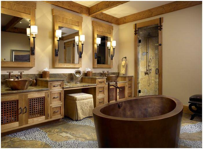 дизайн на баня в кънтри стил