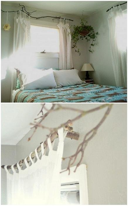 Интересный карниз из ветки, нестандартное и интересное решение для того чтобы создать уют в комнате.