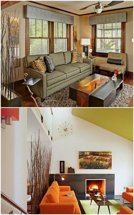 Ветки в оформлении интерьера гостиной, станут её изюминкой.