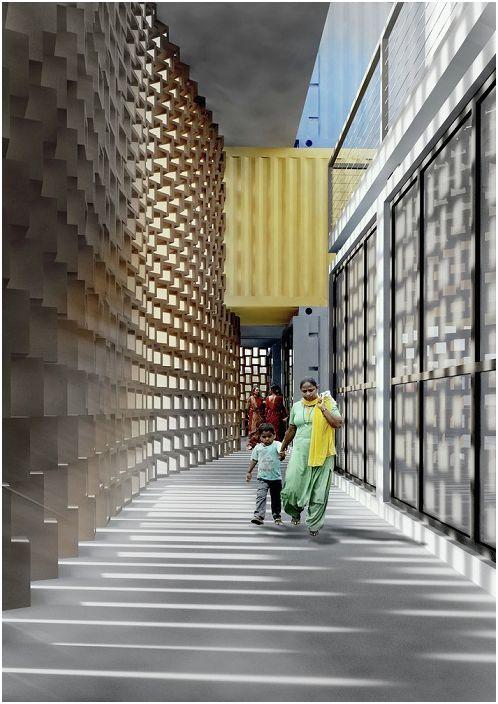 Ekran z cegły z terakoty.