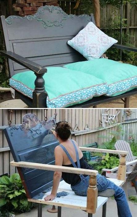С частей старой мебели возможно создать чудесную лавку, которая украсит любой сад и послужит местом для отдыха.