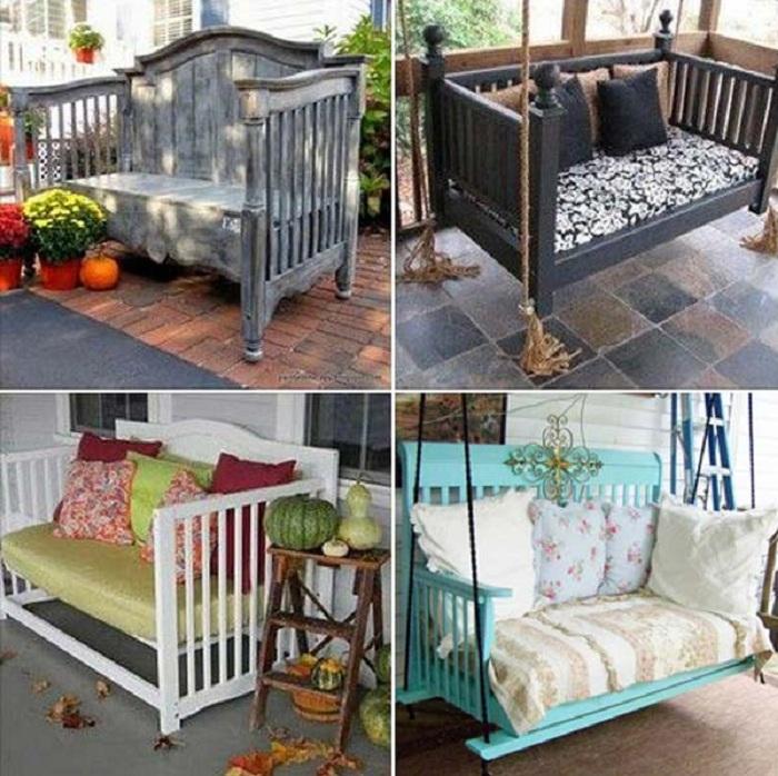 Удобные и практичные различные подвесные и нет скамейки отлично подойдут для любого сада.