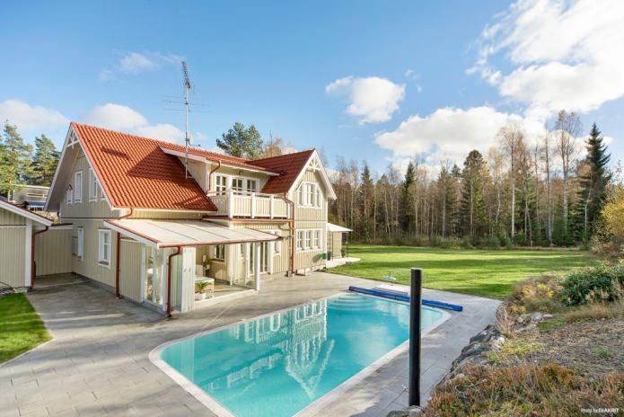 Скандинавска селска къща с басейн