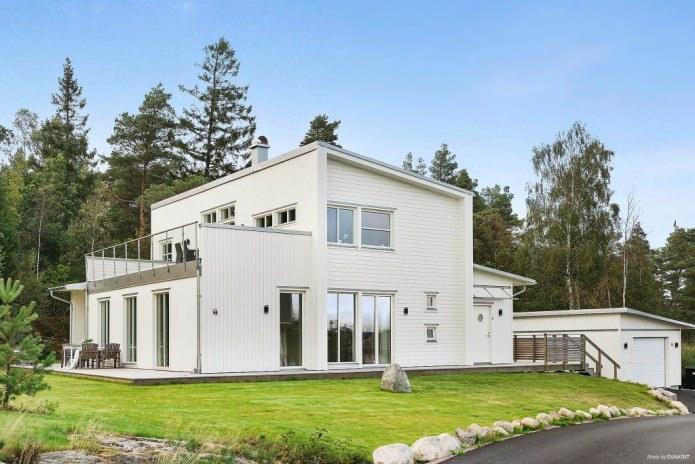 фасада на къща от сайдинг в скандинавски стил