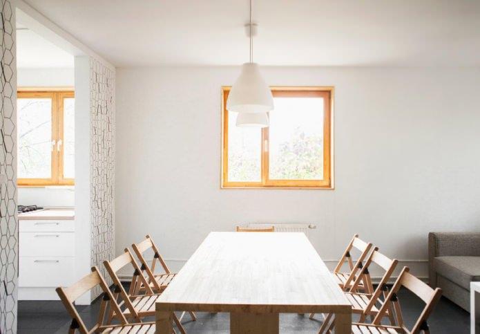 интерьер столовой в загородном доме 100 кв. м.