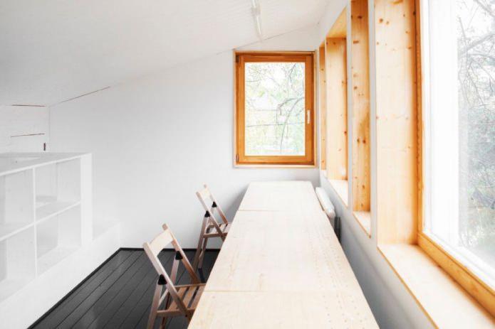 место для учебы в загородном доме в стиле минимализм