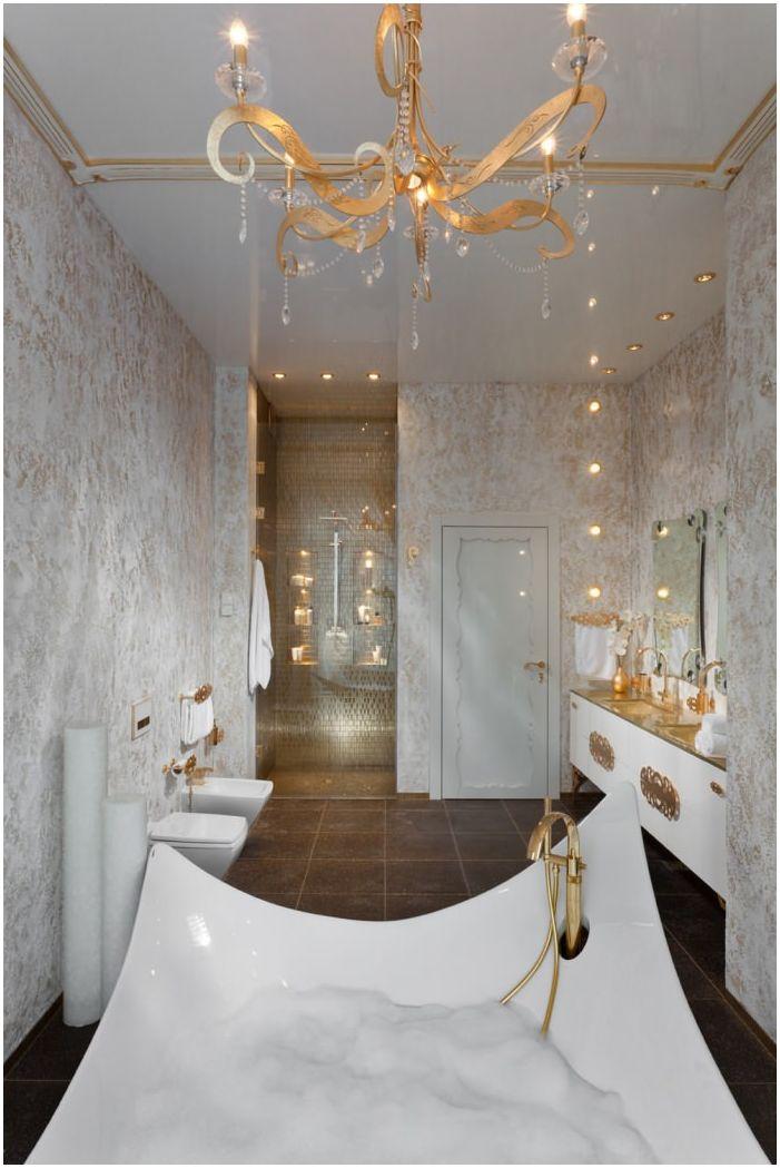 Styl art deco w złotej łazience