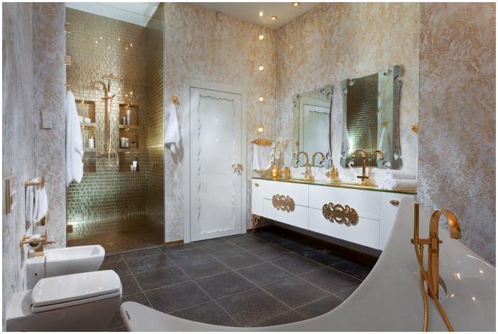 art deco w złotej łazience