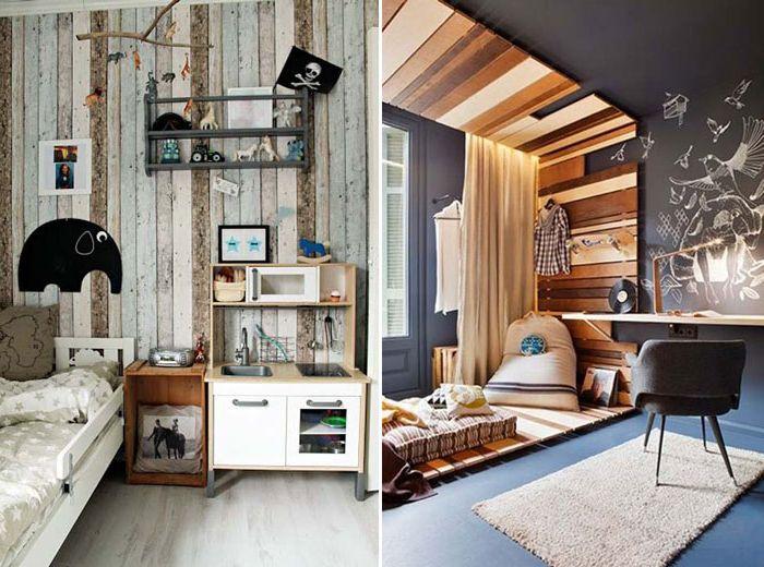 10 przykładów pokoi dziecięcych ozdobionych drewnem.