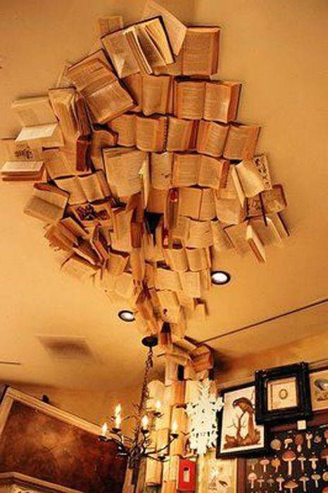 Книги на потолке.