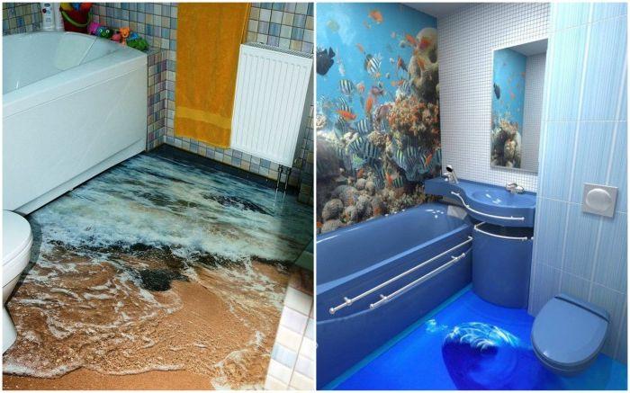 Realistyczne rysunki na podłodze w łazience.