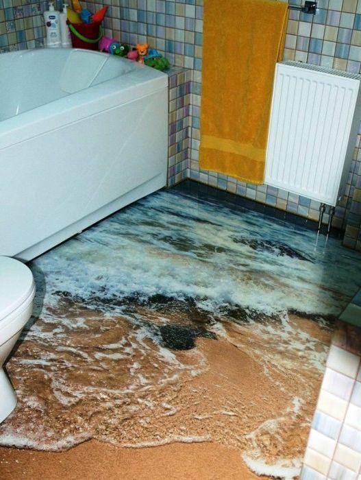 Realistyczny obraz fal na podłodze w łazience.