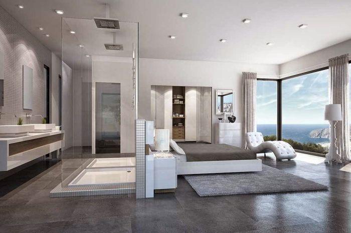 Спальня совмещенная с ванной.