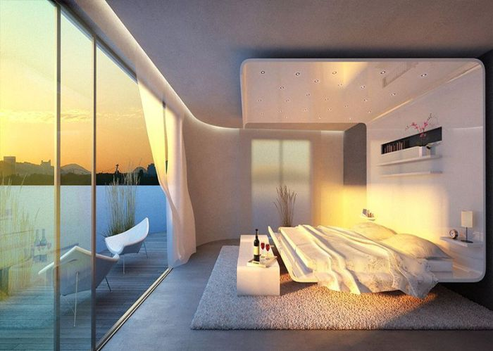 Sypialnia z widokiem na zachód słońca.
