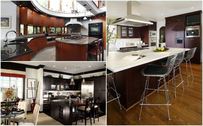 Замечательный вариант использования черной мебели в дизайне кухни.