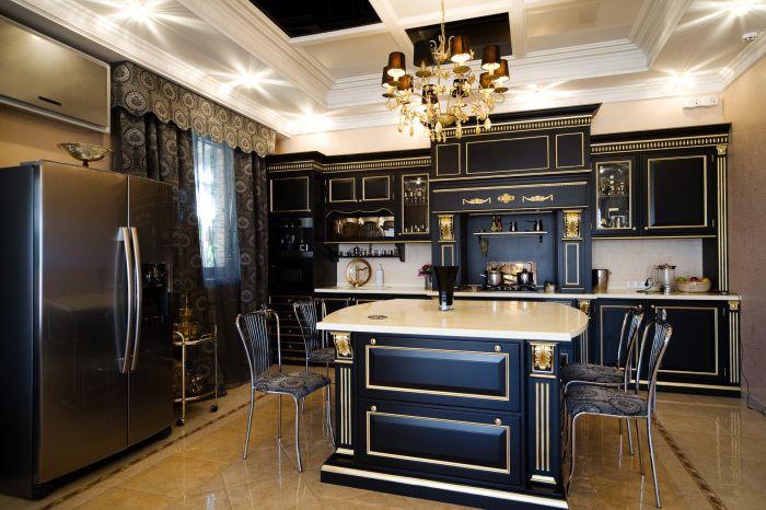 Предметы быта черного цвета на кухне будут выглядеть достаточно стильно.