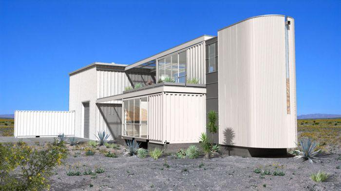 Dom kontenerowy na środku pustyni.