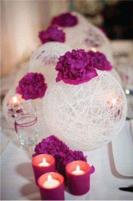 Śliczne elementy dekoracyjne wykonane z nici i kleju.