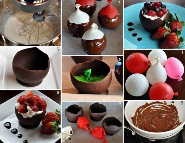 Miseczki do deserów wykonane z czekolady mrożonej na kulce.