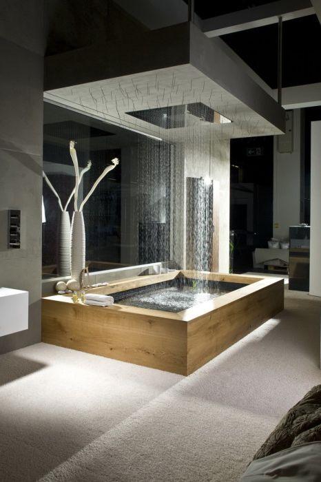 След плуване в банята, можете веднага да се миете под душа, без да ставате.