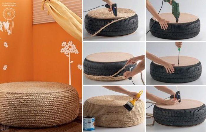 Гумата може лесно да се превърне в удобна седалка с въже и лепило.