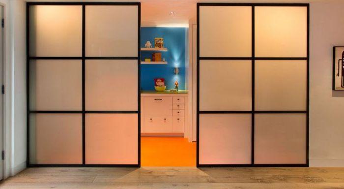 С помощью этой двери можно отделить кухню не полностью, оставив немного пространства для свободного прохода.