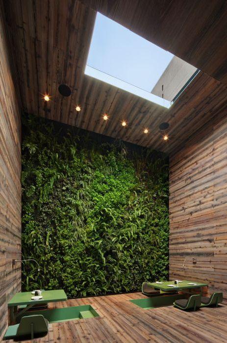 Zielony stół i kwitnąca ściana tworzą niesamowicie relaksującą atmosferę.