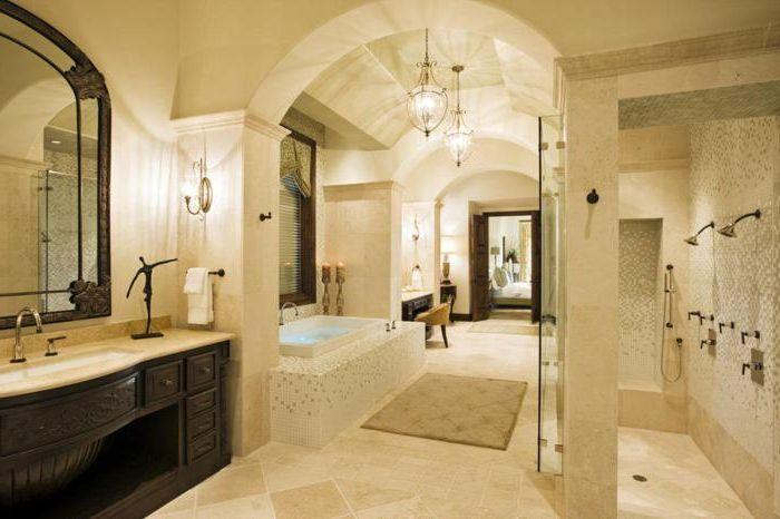 Изискана баня в светли цветове.