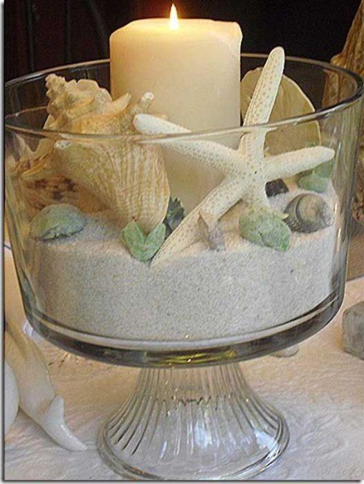 A kagylók nagyon jól néznek ki az üvegárukban. Önthető vázákba, palackokba, gyertyatartókba és bármilyen más edénybe.