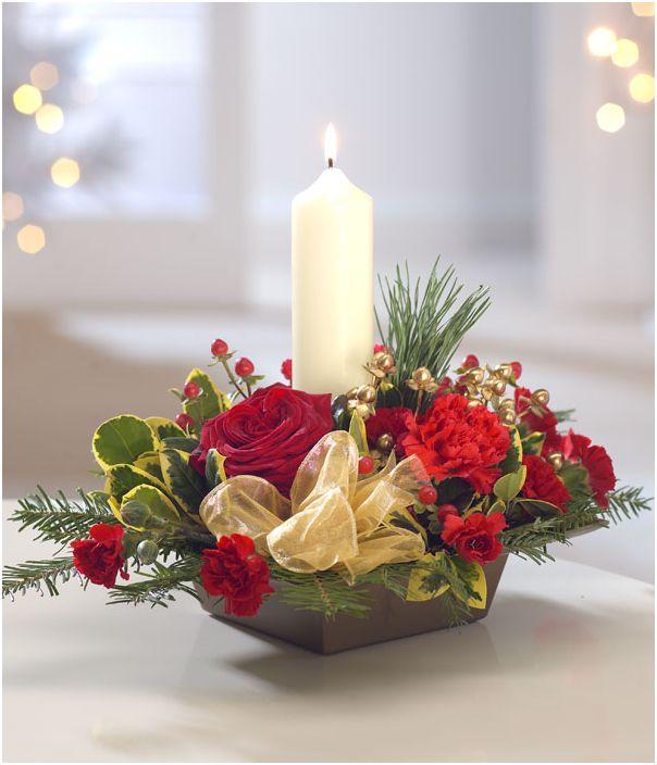 Новогодний декор из живых цветов