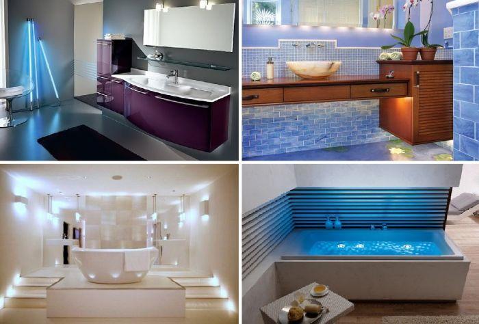 Необичайни идеи за осветление в банята.