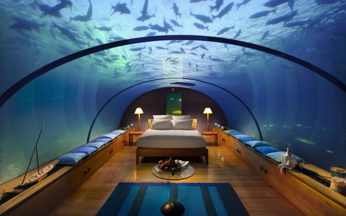 Tämä ylellinen parivuode sijaitsee Malediiveilla. Hän on upea! Nukkuminen siinä on kuin yön viettäminen suuressa akvaariossa, nimeltään Intian valtameri.